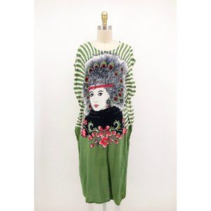 Vintage Dresses - Vintage Suzanna Kaftan Dress Coverup Girl Print